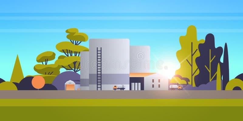 Construcción de fábricas construcción de la zona industrial producción de la planta de energía tecnología de producción de la ind ilustración del vector