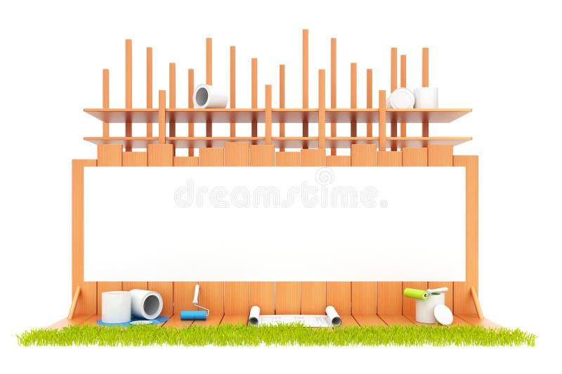 Construcción de la casa. Aislado. 3D stock de ilustración