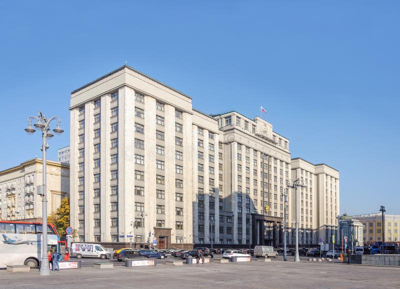 Construcción de la Duma Estatal en Moscú, Rusia fotos de archivo