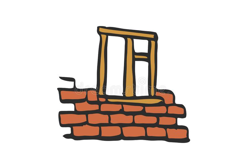Construcción de ladrillos de la pared de la historieta imagenes de archivo