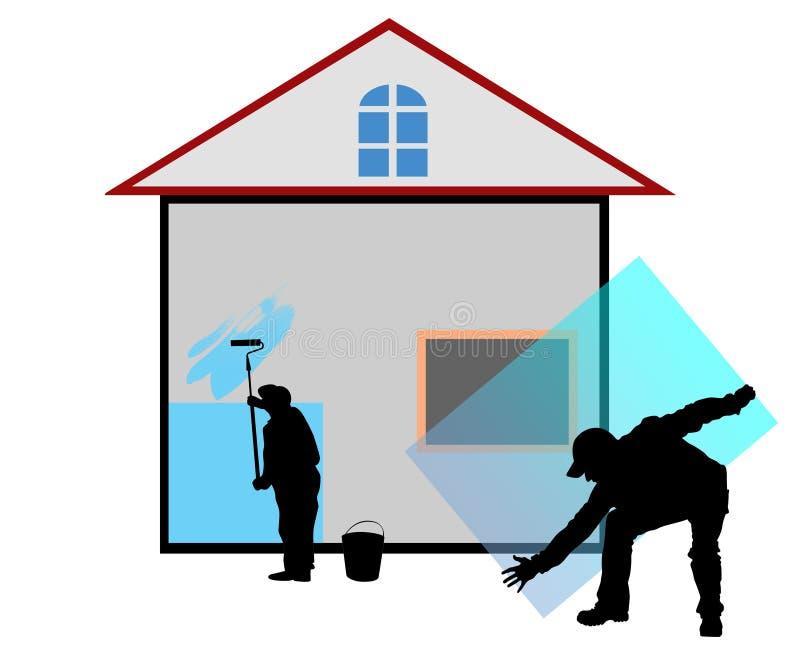 construcción de los trabajadores reparada a casa libre illustration