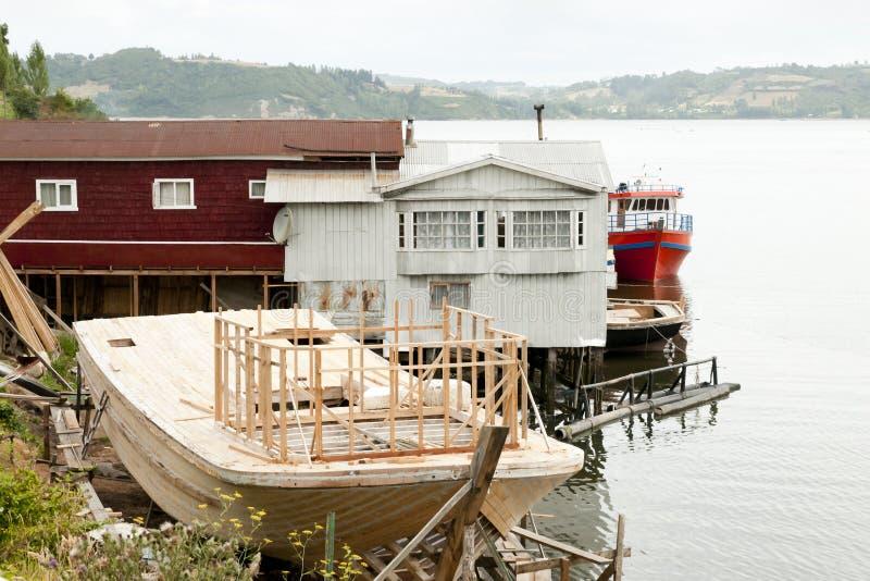 Construcción de madera de la nave - Castro - Chile fotografía de archivo