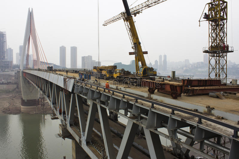 Construcción de puente foto de archivo