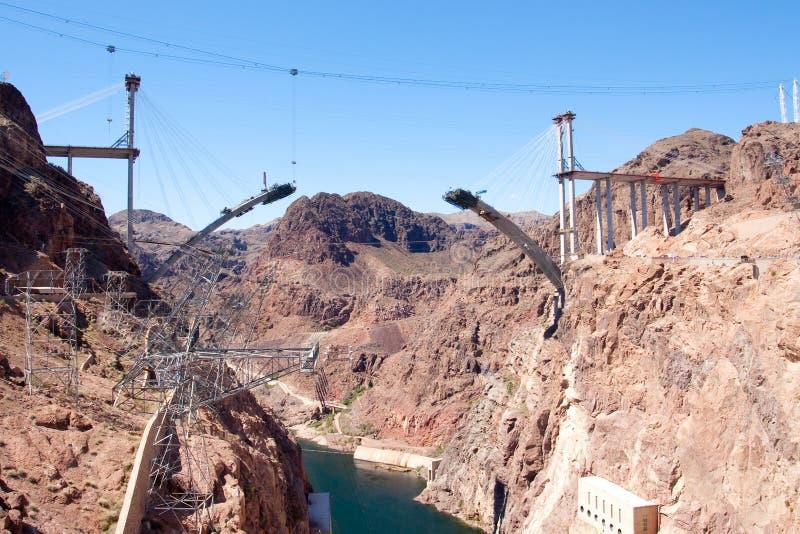 Construcción de puente en la presa de Hoover foto de archivo