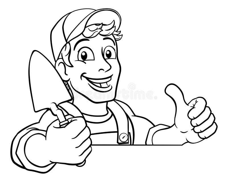 Construcción de trowales Constructor de caricaturas Handyman libre illustration