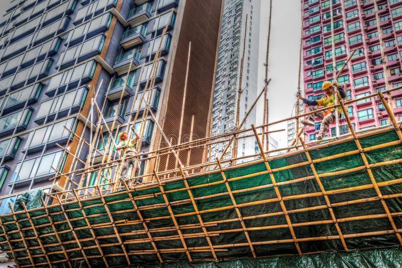 Construcción de un andamio de bambú en Hong Kong imágenes de archivo libres de regalías