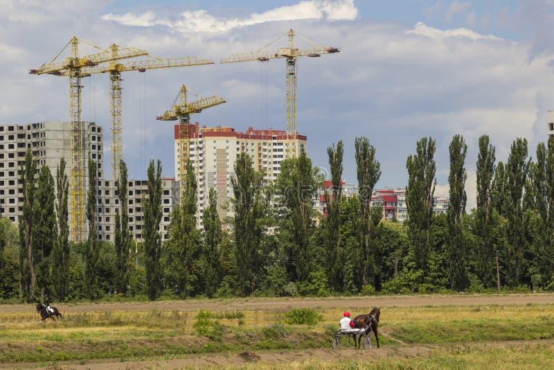 Construcción de un edificio elevado, grúa de construcción En primer plano los jinetes con caballos fotografía de archivo