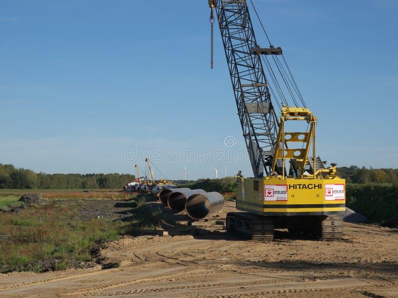 Construcción de un gaseoducto entre Rusia y Europa occidental fotografía de archivo