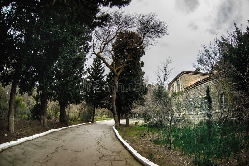 Construcción de viviendas abandonada del pueblo en el jardín de Baku Botanical Nadie en el parque con los árboles primavera imagen de archivo