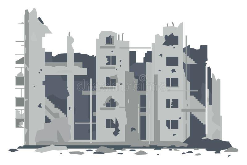 Construcción de viviendas destruida guerra libre illustration