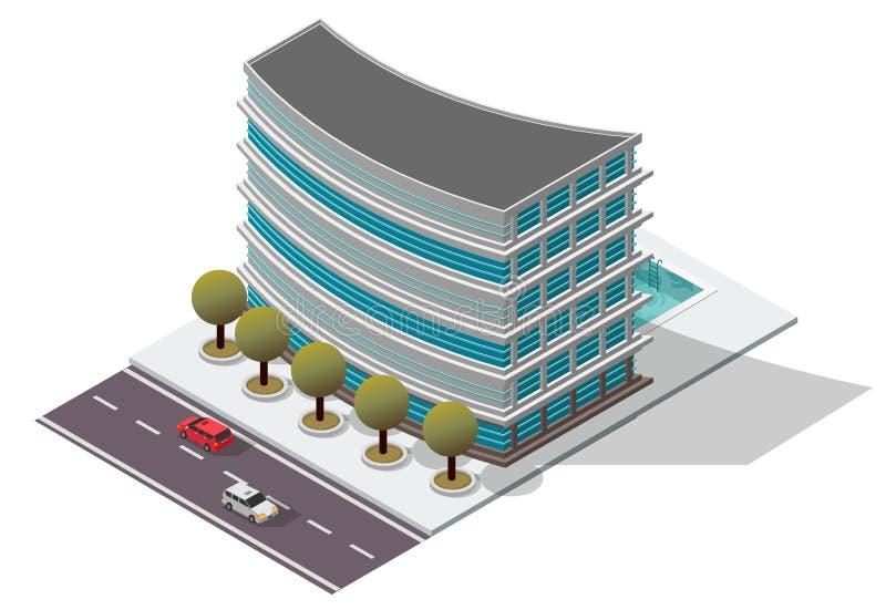 Construcción de viviendas isométrica del hotel del vector libre illustration