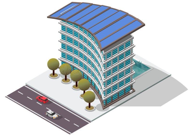Construcción de viviendas isométrica del hotel del vector ilustración del vector