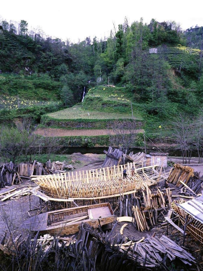 Construcción del barco y jardines de té en el Mar Negro foto de archivo
