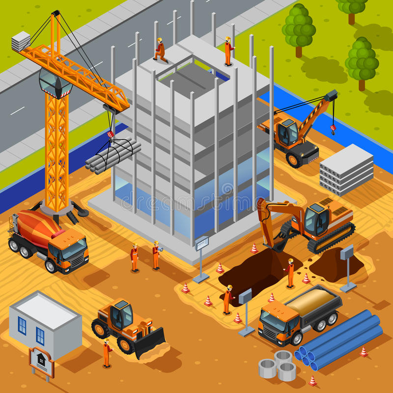 Construcción del concepto isométrico del edificio de varios pisos ilustración del vector