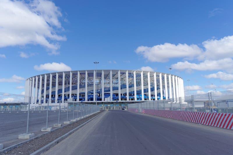 Construcción del estadio en Nizhny Novgorod al mundial 2018 de la FIFA fotografía de archivo