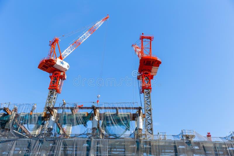 Construcción del estadio olímpico del deporte de Tokio en Kasumigaoka imágenes de archivo libres de regalías