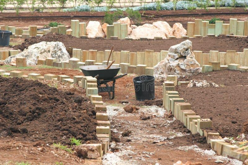 Construcción del jardín imagen de archivo
