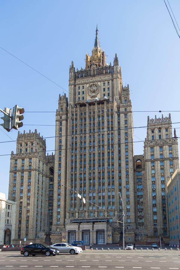 Construcción del Ministerio de Asuntos Exteriores, Moscú, Rusia imagen de archivo