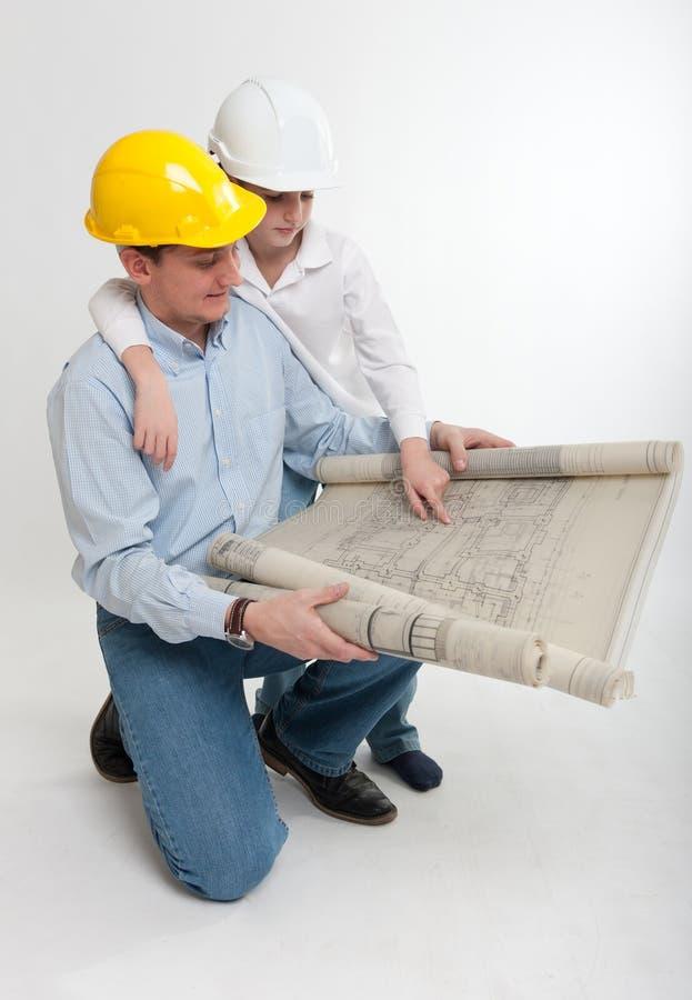 Construcción del padre y del hijo foto de archivo libre de regalías