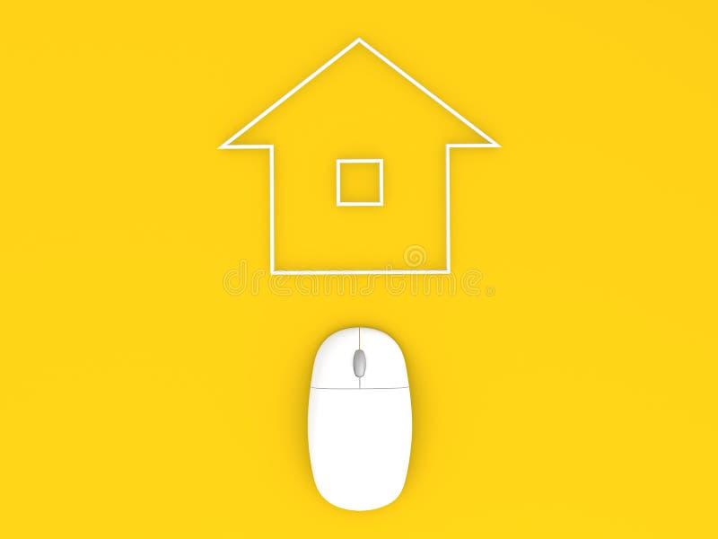 Construcción del ratón y de viviendas del ordenador Venta de las propiedades inmobiliarias ilustración del vector