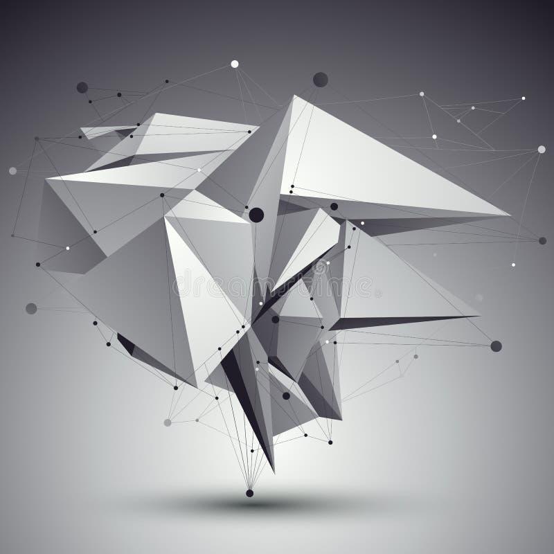Construcción elegante blanco y negro del techno contemporáneo, abstra stock de ilustración