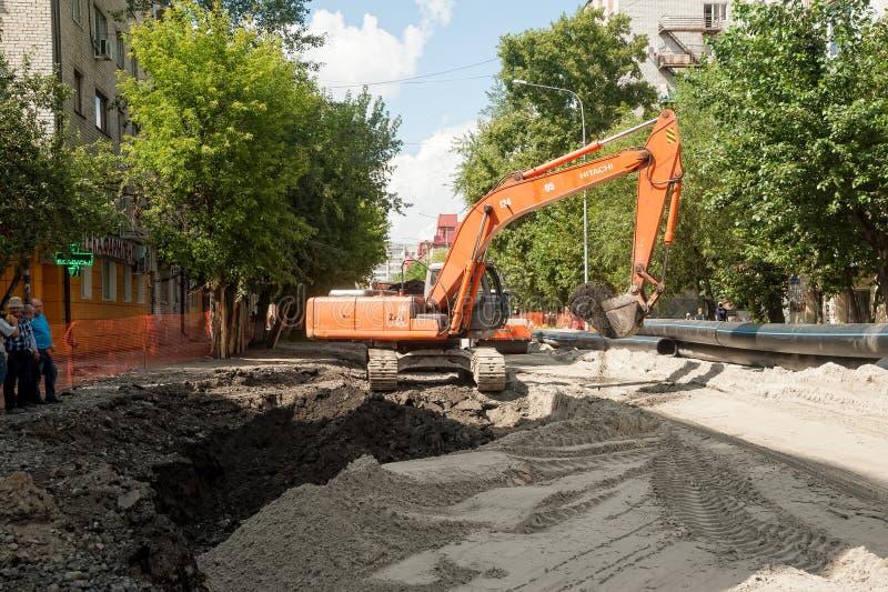 Construcción en el camino Tyumen Rusia fotografía de archivo libre de regalías