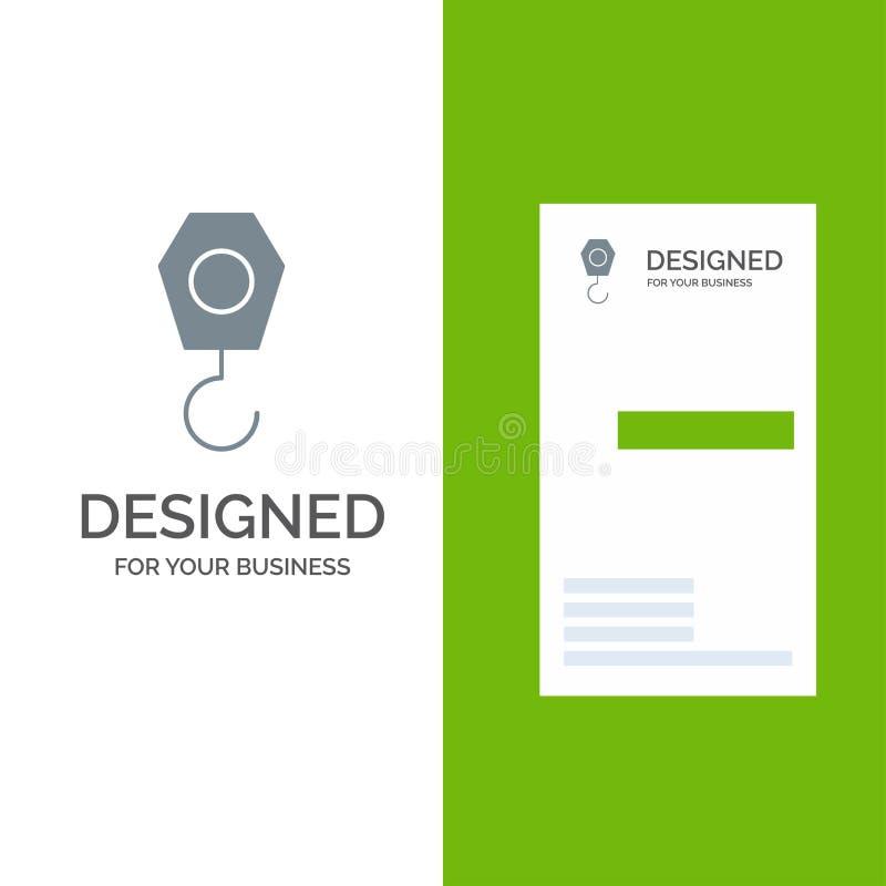 Construcción, grúa, gancho Grey Logo Design y plantilla de la tarjeta de visita libre illustration