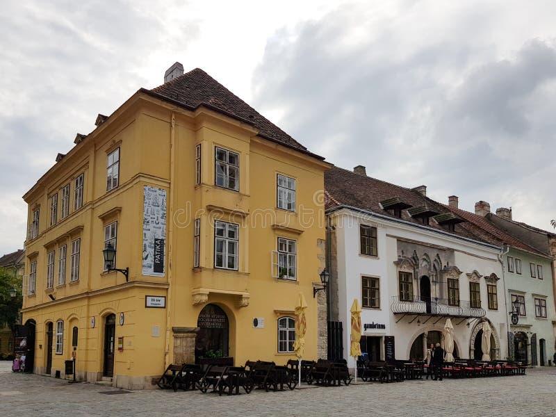 Construcción histórica en el centro de Sopron fotos de archivo libres de regalías