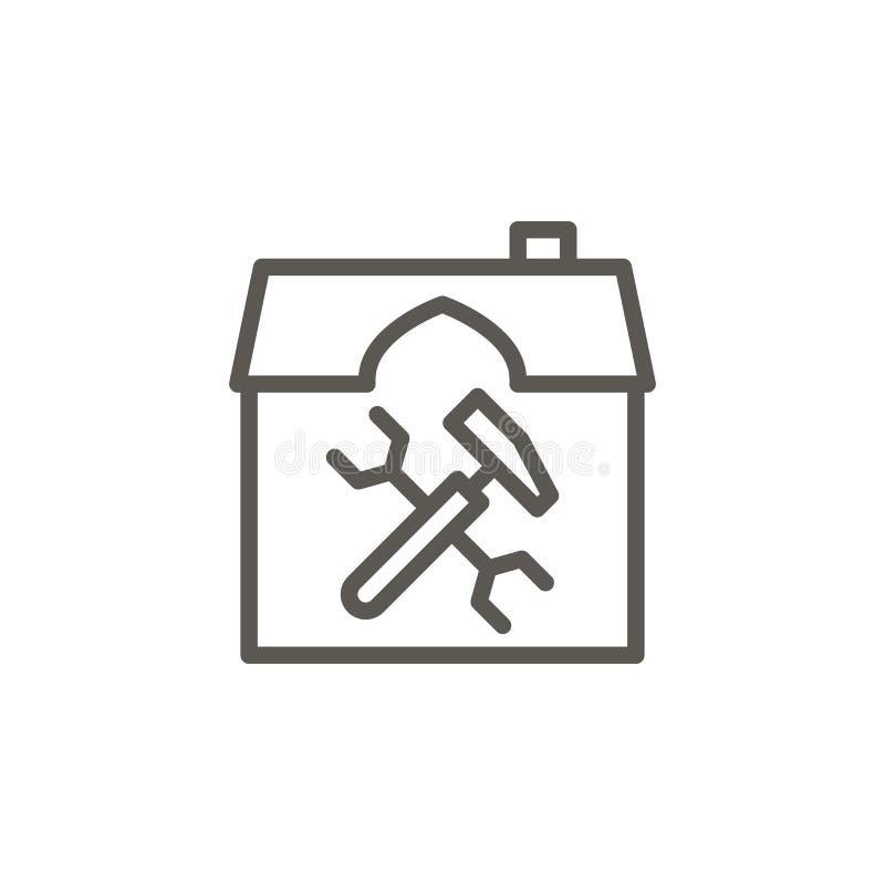 Construcción, hogar, icono del vector de la renovación Ejemplo simple del elemento del concepto de UI Construcción, hogar, vector libre illustration