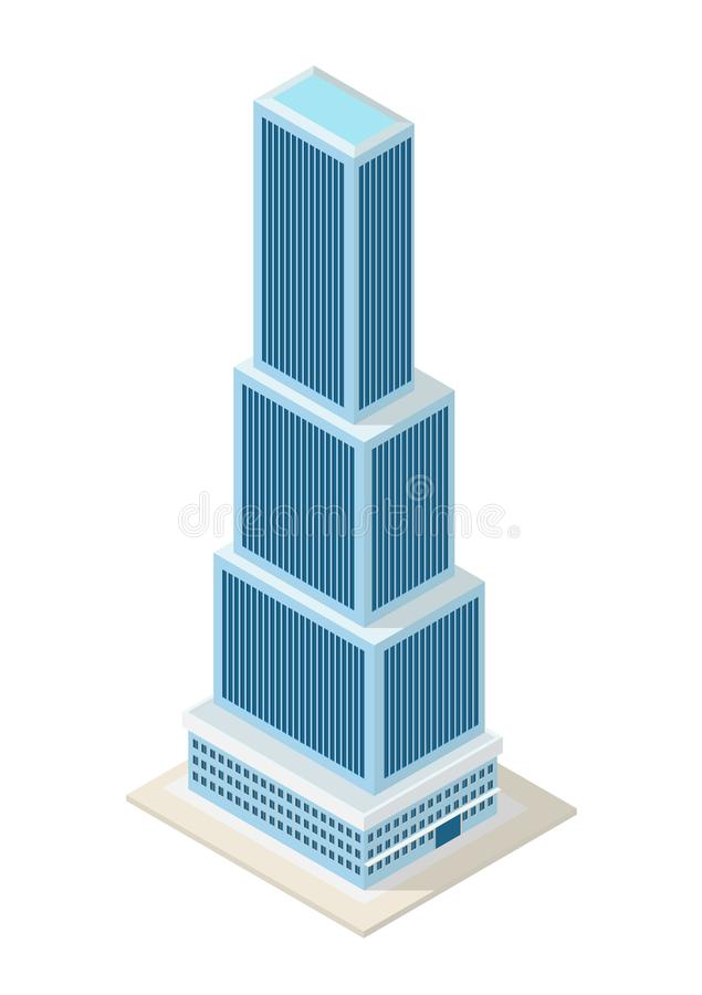 Construcción isométrica de los rascacielos del vector ilustración del vector