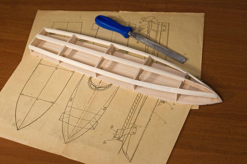 Construcción modelo de escala de la nave fotos de archivo