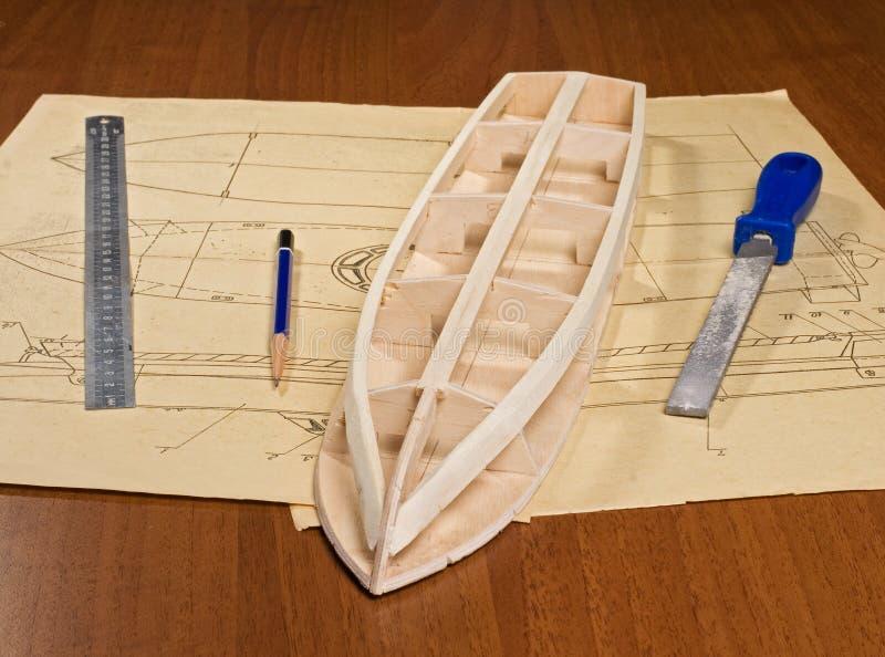 Construcción modelo de escala de la nave imagenes de archivo