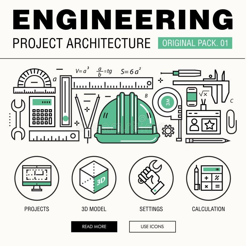 Construcción moderna de la ingeniería paquete grande Línea fina archit de los iconos imagen de archivo