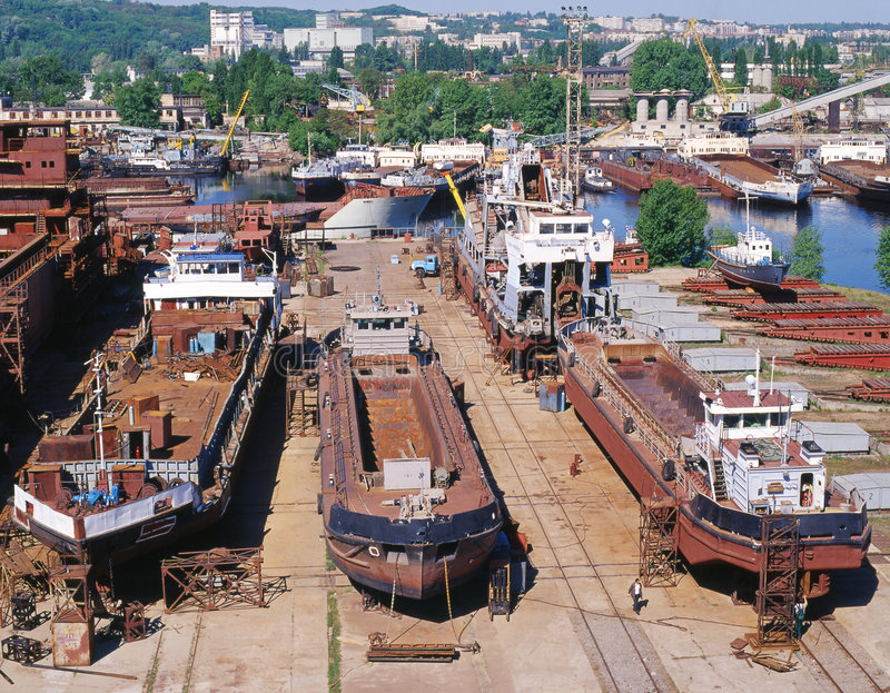 Construcción naval, reparación de la nave imagen de archivo