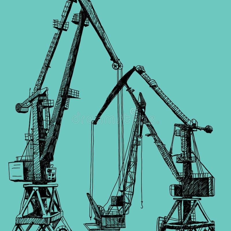 Construcción portuaria de la torre del edificio de la maquinaria de la grúa Ejemplo dibujado mano del bosquejo Silueta negra en b stock de ilustración