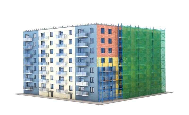 Construcción y aislamiento del edificio residencial con los bosques y rejilla verde stock de ilustración
