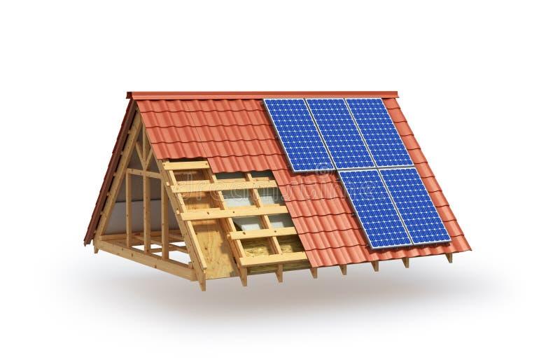 Construcci?n Aislamiento del tejado e instalación de los paneles solares stock de ilustración