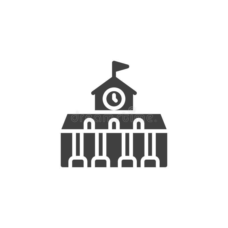 Construcci?n de escuelas con el icono del vector del reloj stock de ilustración
