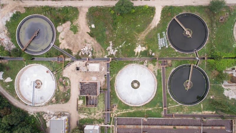 Construcci?n de la limpieza para un tratamiento de aguas residuales Depuradora de aguas residuales  imagen de archivo libre de regalías