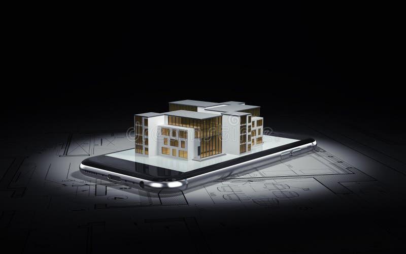 Construcci?n Planes del arquitecto, en los cuales el smartphone miente y la disposición de la casa libre illustration