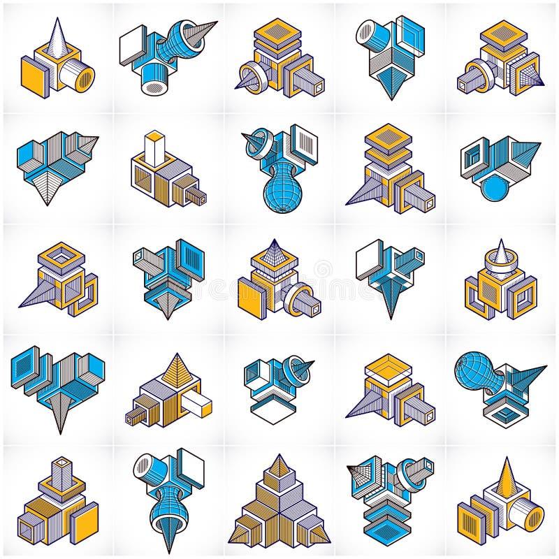 Construcciones colección, vectores abstractos de la ingeniería fijados libre illustration