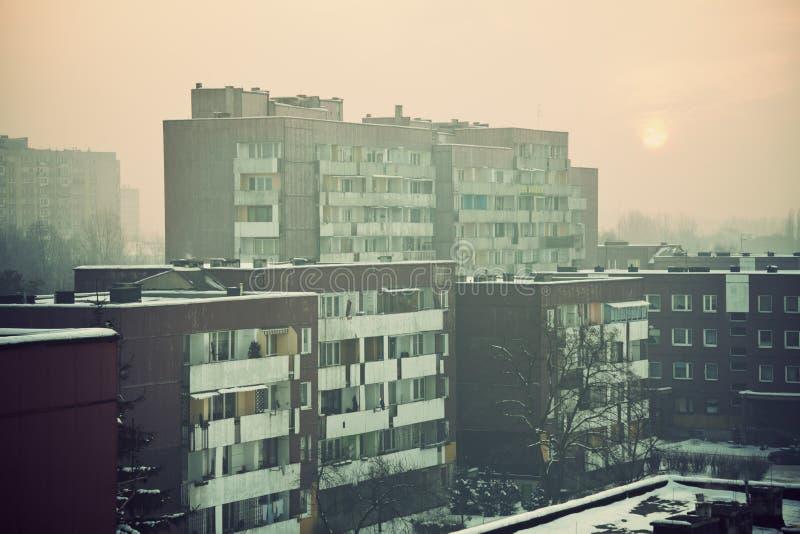 Construcciones de viviendas en Sosnowiec foto de archivo