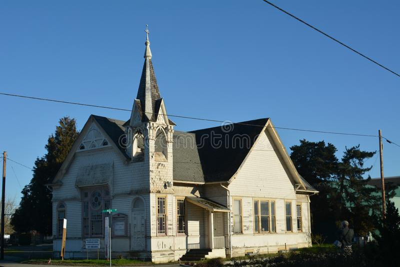 Historic Cumberland Church in Albany, Oregon. Constructed in 1892, the Cumberland Presbyterian Church, also known as the Main Street Church, has stood as a stock photography