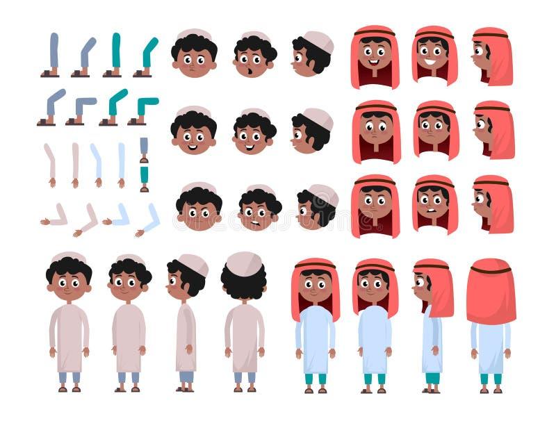 Constructeur arabe de caractère de garçon réglé dans le style plat Garçon musulman DIY réglé avec différentes expressions du visa illustration stock