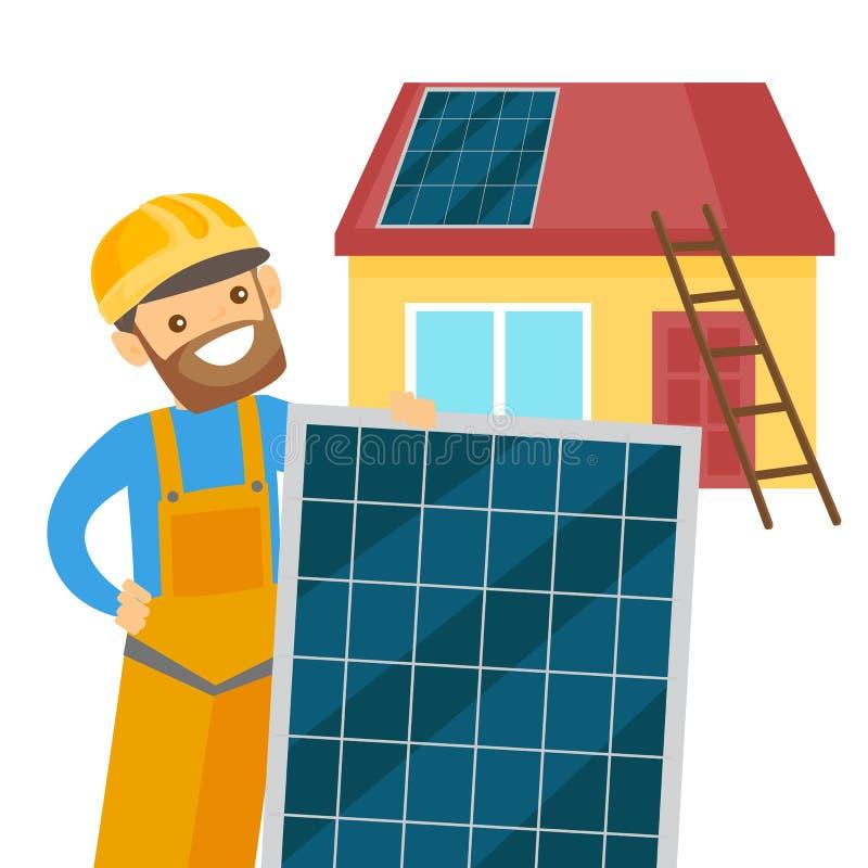 Constructeur blanc caucasien installant le panneau solaire illustration libre de droits