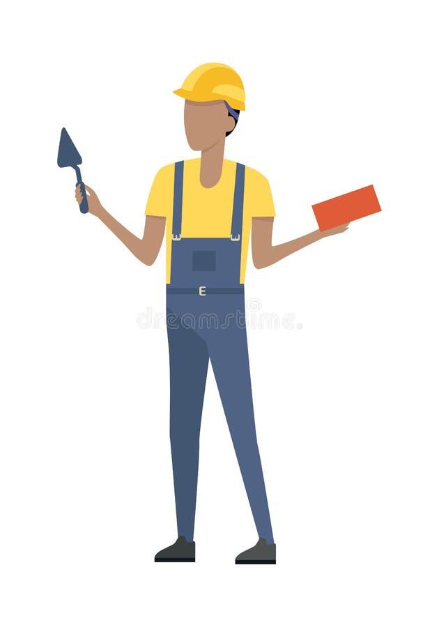 Constructeur dans le casque et l'uniforme bleu brique truelle illustration de vecteur