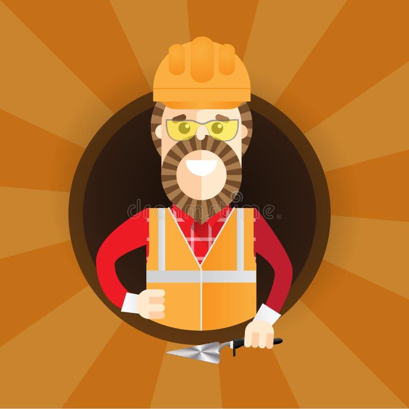 Constructeur de hippie avec la barbe renonçant au pouce Dirigez l'illustration plate de conception en cercle d'isolement sur le f illustration de vecteur