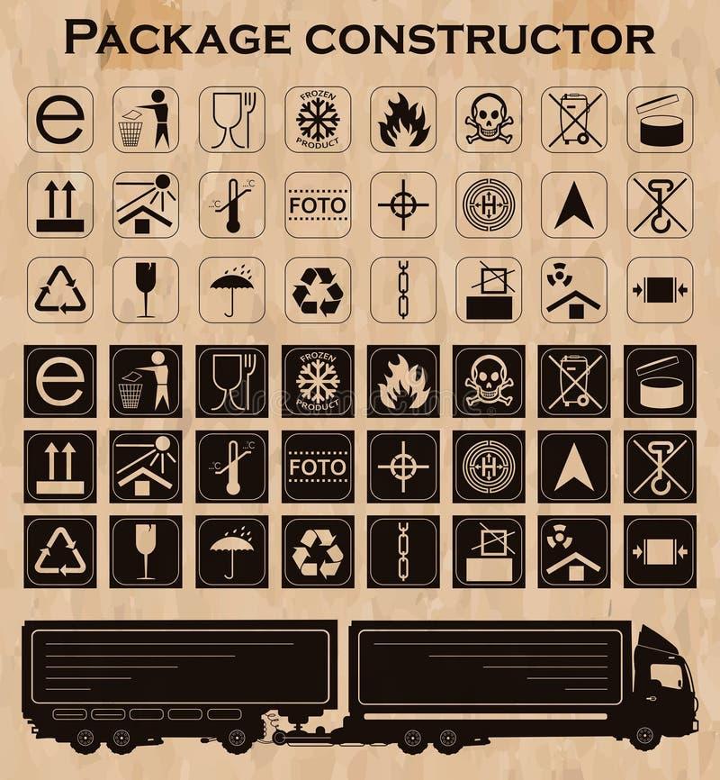 Constructeur de paquet de vecteur symboles d'emballage illustration stock