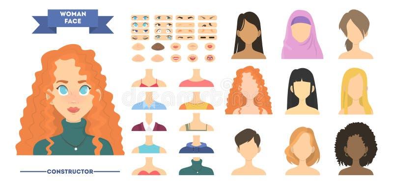 Constructeur de visage de femme Création ou ensemble femelle d'avatar pour l'animation illustration libre de droits