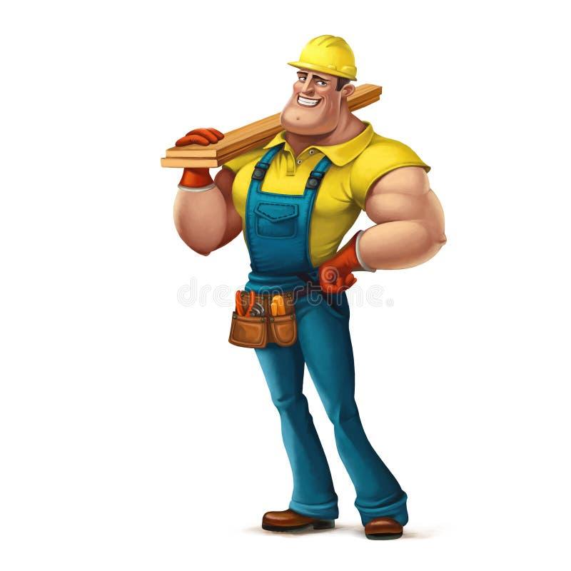 Constructeur drôle de caractère, bois illustration libre de droits